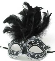 Black and Silver Feather Mask
